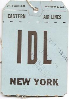 Vintage Eastern Air Lines luggage tag
