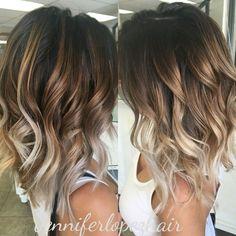 Image result for hair color dark bottom blonde balayage