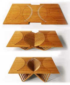 """Moden furniture made from only one piece of wood - This one is call """"Rising Table"""" design by Robert van Embricqs  for the Rising Furniture Series"""