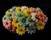Vintage Brooch Beautiful Floral Bouquet Celluloid Blooms 45.00 obo