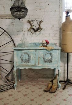 Painted Cottage Chic Shabby Aqua Server / Buffet... | StyleCaster