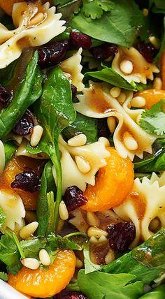 Mandarin Pasta Spinach Salad with Teriyaki Dressing