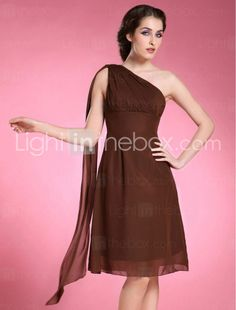 A-line One Shoulder Sleeveless Knee-length Chiffon Bridesmaid/ Mother of the Bride Dress - US$ 69.99