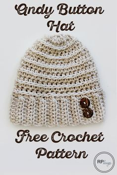 Andy Button Hat By Krista Cagle - Free Crochet Pattern - (rescuedpawdesigns) ༺✿ƬⱤღ✿༻