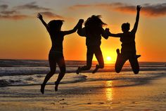 Three Girls Jumping at Sunset in Oceanside. via @Joyce Booker Cruse. This is us, except not jumping. And not young small girls. But the sunset... Nailed it!