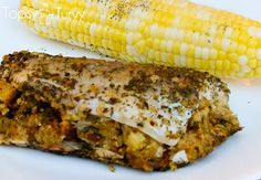an easy and delicious stuffed trout recipe using stuffing, butter and herbs Herb Salmon Recipe, Salmon Recipe Videos, Lemon Salmon, Trout Recipes, Cod Recipes, Seafood Recipes, Yummy Recipes, Game Recipes, Yummy Food