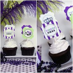 Free printables for Mardi Gras.  Mardi Gras party circles for cupcake toppers. Found via TipJunkie.com