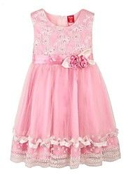 Girl's Pearl Sequins Flower Tulle Party Pageant Bridesmaid Princess Wedding Kids Clothes Dresses