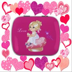 #Girl and #Hearts #Valentine #Candy #Tin filled with Jelly Bellies #ValentinesDay #jellybellies #jellybeans