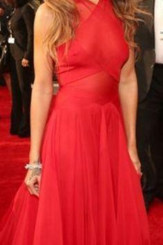Flowing red carpet dress