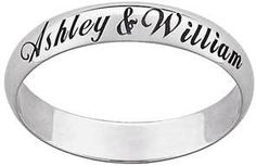 Ladies' 4.0mm Engraved Wedding Band in 10K White Gold (25 Characters)