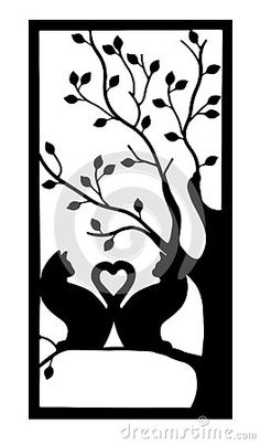 two-cats-silhouette-their-tails-heart-shape-sitting-tree-isolated-white-background Vector Company, Company Logo, Cat Silhouette, Heart Shapes, Moose Art, Logo Design, Concept, Cats, Animals