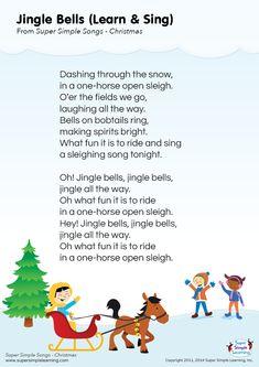 """Lyrics poster for """"Jingle Bells"""" Christmas song from Super Simple Learning. #kidssongs #kindergarten #ESL"""