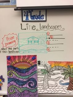 Fourth Grade artists started this project by each receiving a laminated landscape and worked with a friend to find the foreground, middlegr. Classroom Art Projects, School Art Projects, Art Classroom, 2nd Grade Art, Fourth Grade, Third Grade, Jamestown Elementary, Jr Art, Ecole Art