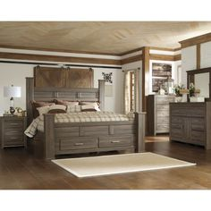 Juararo Contemporary California King Poster Bed In Dark Brown By  1StopBedrooms | Buy Bedroom Furniture Sets