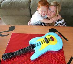 #wiltoncontest  I made this Guitar cake for my son's 6th birthday.  Guitar Cake. Electric guitar cake.  Music cake.
