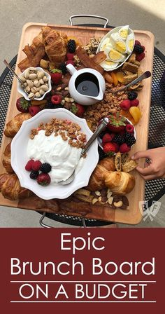 This brunch board is TRULY epic! ( Celebrate all things brunch with an epic … This brunch board is REALLY epic! ( Celebrate brunch with an epic selection of breakfast favorites on a large old board. Your guests will never know that you have a budget! Breakfast Platter, Breakfast Time, Breakfast Recipes, Easy Brunch Recipes, Cute Breakfast Ideas, European Breakfast, Breakfast Picnic, Romantic Breakfast, Breakfast Buffet