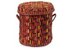 I love a basket - we brought back many from Peru, like this Large Multicolor Lidded Basket (OneKingsLane.com)