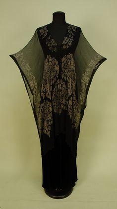 Stenciled Black Silk Gauze Tunic, possibly Gallenga c.1920s