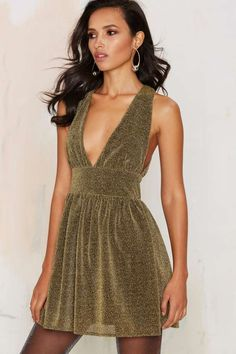 84ab0bca86400 Nasty Gal Struck Gold Metallic Mini Dress - Sale  60% Off and Up