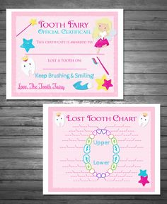 Tooth Fairy Certificate, and Lost Tooth Chart, Printable File, INSTANT DOWNLOAD, Bonus First Lost Tooth Certificate Included by PinkSkyPrintables on Etsy https://www.etsy.com/listing/233936510/tooth-fairy-certificate-and-lost-tooth