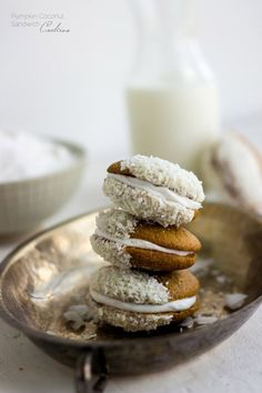 Pumpkin Cookies with Coconut Cream - These are SO good and they're whole wheat and have no butter! Pumpkin is not just for the Fall anymore!| Foodfaithfitness.com | @FoodFaithFit
