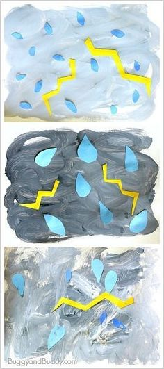 Weather Activities for Kids: Thunderstorm Art Project Stormy Weather Process Art Project for Kids: Add this easy art activity to your next weather unit- fun way for toddlers, preschoolers, and kindergarteners to explore color mixing while making their own Weather Activities For Kids, Preschool Weather, Spring Activities, Art Activities For Preschoolers, Weather Kindergarten, Easter Activities, Art Projects For Kindergarteners, Weather For Kids, Weather Science
