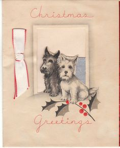 Vintage Christmas Card Scottish Terrier & West Highland Terrier Dog Foil Dogs