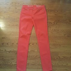 Bright red Madewell skinny pants 24x32 Fun summer Madewell pants.  In good condition, some spots look to be slightly faded on the back, may be how the manufacturer made it  size 24 x 32. Have some stretch Madewell Pants Skinny