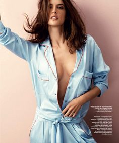 Alessandra Ambrosio looks sexy in blue pajamas from Women's Secret