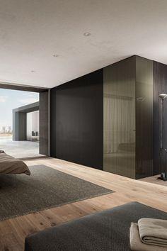 Modern Bedroom, Bedroom Decor, Bedroom Ideas, Suspended Bed, Glass Wardrobe, Wardrobe Design, Wardrobes, Furniture Design, Design Inspiration