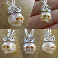 Hand carved full pearl skull wearing sterling silver crown, necklace. Shop Now at www.arloedgewalker.etsy.com #skull #fashion #style #shopping #gifts #thecrown #giftforher #giftforhim #christmasgift #christmasgiftsideas