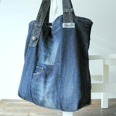 XXL tote beach bag - dark blue recycled  canvas jeans - hidden pockets - original buttons - large beach bag - weekender bag