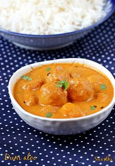 Dum aloo recipe - A restaurant style dum aloo curry that tastes delicious, creamy with aloo having a melt in the mouth texture. Recipe with step wise pics Healthy Indian Recipes, North Indian Recipes, Vegetarian Recipes, Cooking Recipes, Indian Cookbook, Vegan Cookbook, Aloo Recipes, Curry Recipes, Recipies