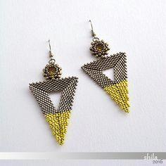 Bermuda Triangle Earrings Topaz/Steel by MadebyShila on Etsy