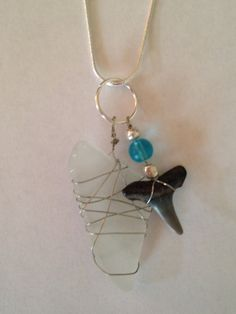 Sea Glass and Sharks Tooth Charm Necklace