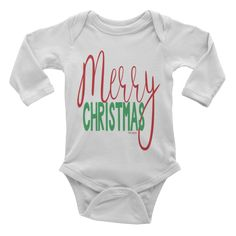 Merry Christmas Onesie #beanandjean  This long-sleeve baby onesie is soft, comfortable, and made of 100% cotton. It's designed to fit infants of all sizes, with a rib knit to give good stretch and a neckband for easy on-and-off. Made and printed in the USA