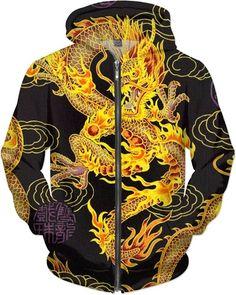 Limited Edition Golden Chinese Emperor Dragon Fantasy Art Custom Kung Fu Street Zip Hoodie by Willy Badu.