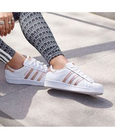 factory price 1360e 736ad Adidas Original Womens Superstar White Shoes with Rose Gold Stripes Sale UK  Rose Gold Addidas Shoes
