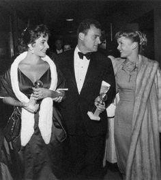 Elizabeth Taylor with husband Mike Todd and Debbie Reynolds, 1958