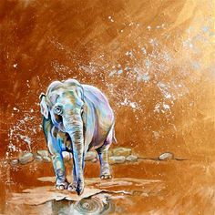 """Daily Paintworks - """"Pachyderm at Play"""" - Original Fine Art for Sale - © Lauren Kuhn Fine Art Gallery, Elephant, My Arts, Play, The Originals, Painting, Animals, Instagram, Animais"""