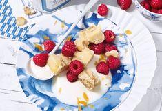 Joghurt-Nuss-Fudge mit Himbeeren