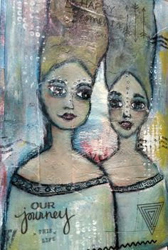Playing with different techiques and media; stencils, stamp, alcohol inks in acrylic paint, modelling paste.....