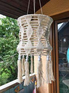 Häkelanleitung in pdf Format Luna Lampe Crochet Lamp, Crochet Bib, Cute Crochet, Crochet Home Decor, Crochet Crafts, Macrame Projects, Crochet Projects, Macrame Patterns, Crochet Patterns