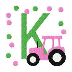 pink tractor - etsy - joyfulstitchesetsy - $13.00