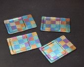 Fused glass irridizes block coasters or small plates
