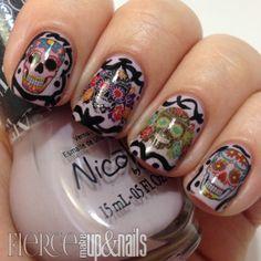 Sugar Skull Nail Decals Assortment - 32 decals x sheet) – Moon Sugar Decals Funky Nail Art, Colorful Nail Art, Easy Nail Art, Cool Nail Art, Fabulous Nails, Gorgeous Nails, Love Nails, My Nails, Sugar Skull Nails