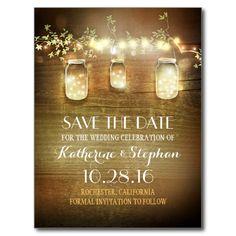 lights and mason jars rustic SAVE THE DATE postcard
