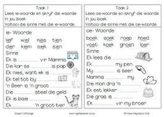 graad 1 lees - Google Search Letter Worksheets, 1st Grade Worksheets, Kindergarten Worksheets, Comprehension Worksheets, Reading Comprehension, Afrikaans Language, Teachers Aide, Learning Support, Classroom Rules