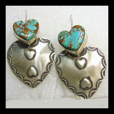 @rubylanecom www.rubylane.com  Navajo Sterling Silver and Turquoise Double Heart Earrings